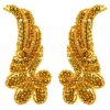 Motif Sequin/beads 15cmx6.5cm Wing Shape 2Pc Gold Hologram